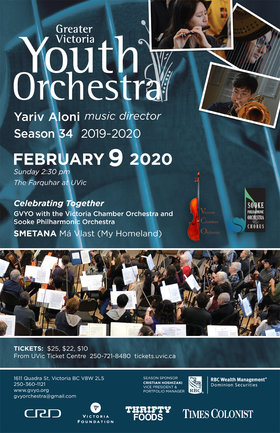 Celebrating Together: Smetana's Ma Vlast: Greater Victoria Youth Orchestra , Victoria Chamber Orchestra, Sooke Philharmonic Orchestra, Yariv Aloni, Music Director @ The Farquhar at UVic Feb 9 2020 - Apr 3rd @ The Farquhar at UVic