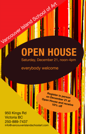 VISA Open House @ Vancouver Island School of Art Dec 21 2019 - Dec 15th @ Vancouver Island School of Art