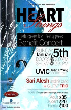 Heart Strings: Refugees for Refugees Benefit Concert: Sari Alesh and Band, Guitar Trio @ Phillip T. Young Recital Hall (Uvic) Jan 5 2020 - Aug 6th @ Phillip T. Young Recital Hall (Uvic)