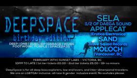 DeepSpace: birthday edition: Sela, Applecat, Sand, Moloch @ Sunset Labs Feb 15 2020 - Oct 25th @ Sunset Labs