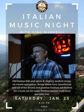 Italian Music Night: Gino Marrelli @ Gorge-ous Coffee Jan 25 2020 - Sep 23rd @ Gorge-ous Coffee