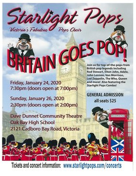 "Starlight Pops presents ""Britain Goes POP!"": Starlight Pops  @ Dave Dunnet Theatre Jan 24 2020 - Jan 19th @ Dave Dunnet Theatre"