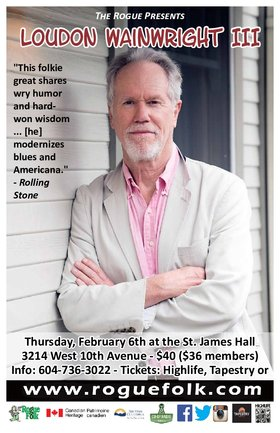 Loudon Wainwright III @ Mel Lehan Hall at St. James Feb 6 2020 - Feb 25th @ Mel Lehan Hall at St. James