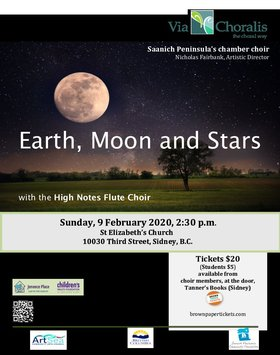 Earth, Moon and Stars: Via Choralis Chamber Choir, High Notes Flute Choir @ St Elizabeth