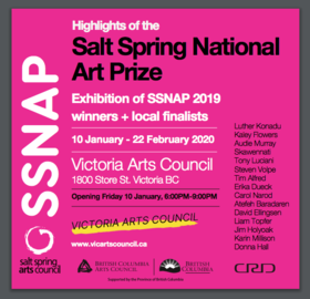 The Salt Spring Island National Art Prize Winners Showcase @ Victoria Arts Council Jan 10 2020 - Feb 22nd @ Victoria Arts Council