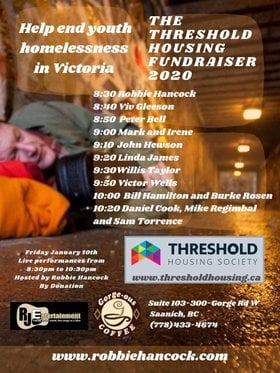 Threshold Housing Society Fundraiser: Robbie Hancock, Willis Taylor, Viv Gleeson, Victoria Wells, Peter Bell, Bill Hamilton, Mark and Irene, Burke Rosen, John Hewson, Daniel Cook, Linda James, Mike Regimbal, Sam Torrence @ Gorge-ous Coffee Jan 10 2020 - Apr 7th @ Gorge-ous Coffee