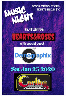 Rock and Roll Dance: Heart and Roses !, Demographix Band Victoria @ Carlton Club, The Jan 25 2020 - Jan 25th @ Carlton Club, The