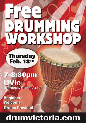 FREE DRUMMING WORKSHOP @ UVIC SENATE CHAMBERS UNIVERSITY CENTRE A180 Feb 13 2020 - Jan 25th @ UVIC SENATE CHAMBERS UNIVERSITY CENTRE A180