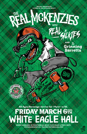All ages w beverage service: The Real McKenzies, REAL SICKIES, The Grinning Barretts @ White Eagle Polish Hall Mar 6 2020 - Sep 26th @ White Eagle Polish Hall