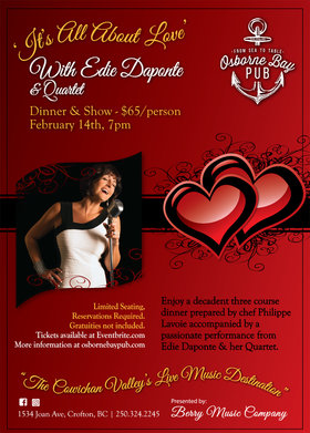 It's All About Love - Edie Daponte: Edie DaPonte, Joey Smith, Karel Roessingh, Damian Graham @ Osborne Bay Pub Feb 14 2020 - May 6th @ Osborne Bay Pub