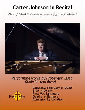 Carter Johnson in Recital @ First Metropolitan United Church Feb 8 2020 - Apr 20th @ First Metropolitan United Church