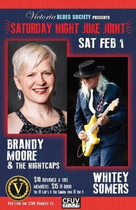 Saturday Night Juke Joint: Brandy Moore & the Nightcaps, Whitey Somers @ V-lounge Feb 1 2020 - Jan 28th @ V-lounge