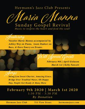 Maria Manna @ Hermann's Jazz Club Mar 1 2020 - Oct 18th @ Hermann's Jazz Club