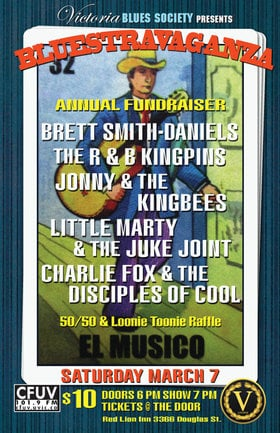 Bluestravaganza: Brett Smith-Daniels, The R&B Kingpins, Johnny and The Kingbees, Little Marty and The Juke Joint, Charlie Fox & The Disciples of Cool @ V-lounge Mar 7 2020 - Jun 5th @ V-lounge