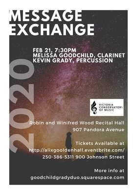 Message Exchange: Music for clarinet and percussion: Melissa Goodchild and Kevin Grady @ Robin and Winifred Wood Recital Hall Feb 21 2020 - Apr 4th @ Robin and Winifred Wood Recital Hall