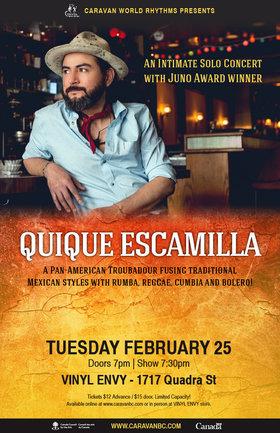 Caravan World Rhythms Presents: QuiQue Escamilla (Mexican-Canadian Juno Award-Winning Guitarist) @ Vinyl Envy Feb 25 2020 - Sep 18th @ Vinyl Envy