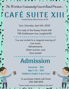 Café Suite XIII: Westshore Community Concert Band @ Our Lady of the Rosary Parish Hall Apr 4 2020 - Apr 1st @ Our Lady of the Rosary Parish Hall