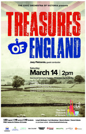 Treasures of England: The Civic Orchestra of Victoria @ Dave Dunnet Theatre Mar 14 2020 - Feb 16th @ Dave Dunnet Theatre