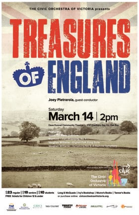 Treasures of England: The Civic Orchestra of Victoria @ Dave Dunnet Theatre Mar 14 2020 - Feb 23rd @ Dave Dunnet Theatre
