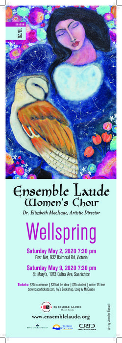 Wellspring: Ensemble Laude @ First Metropolitan United Church May 2 2020 - Apr 1st @ First Metropolitan United Church