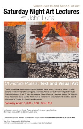 Saturday Night Lectures with John Luna @ Vancouver Island School of Art Apr 18 2020 - Apr 7th @ Vancouver Island School of Art