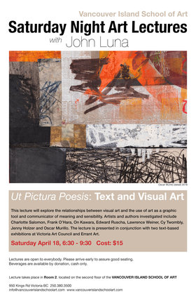 Saturday Night Lectures with John Luna @ Vancouver Island School of Art Apr 18 2020 - Apr 2nd @ Vancouver Island School of Art
