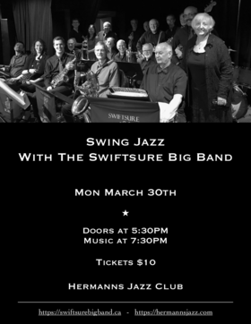Swiftsure Big Band @ Hermann's Jazz Club Mar 30 2020 - Oct 17th @ Hermann's Jazz Club