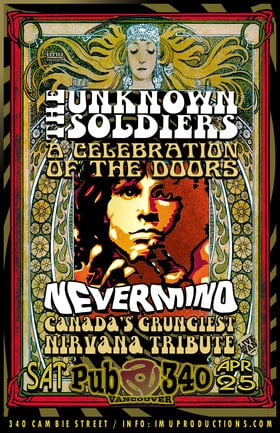 The Doors & Nirvana Tributes: The Unknown Soldiers, Nevermind @ Pub 340 Apr 25 2020 - Mar 29th @ Pub 340