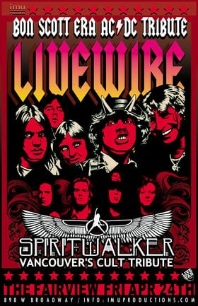 Bon Scott era AC/DC & Cult Tributes: Livewire, Spiritwalker @ Fairview Pub Apr 24 2020 - Apr 4th @ Fairview Pub