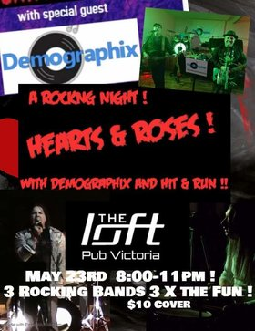 Music Fest: Demographix, Hit and Run, The Hearts and Roses Band @ The Loft (Victoria) May 23 2020 - Apr 1st @ The Loft (Victoria)