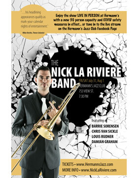 The Nick La Riviere Band @ Hermann's Jazz Club Jul 31 2020 - Aug 10th @ Hermann's Jazz Club