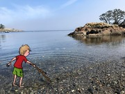 Boy at Telegraph Cove by  Val Lawton