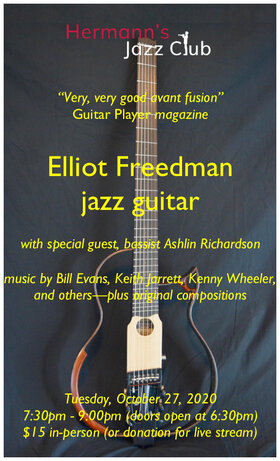Elliot Freedman - Solo Concert @ Hermann's Jazz Club Oct 27 2020 - Oct 17th @ Hermann's Jazz Club