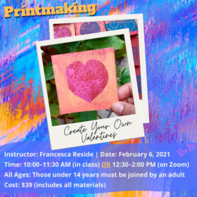 Create Your Own Valentines: Francesca Reside @ Ladysmith Waterfront Gallery Feb 6 2021 - Jan 19th @ Ladysmith Waterfront Gallery