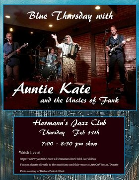Blue Thursday with Auntie Kate @ Hermann's Jazz Club Feb 11 2021 - Feb 25th @ Hermann's Jazz Club