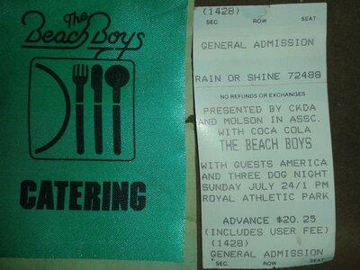 Photo- Beach Boys Ticket RAP  -   Royal Athletic Park