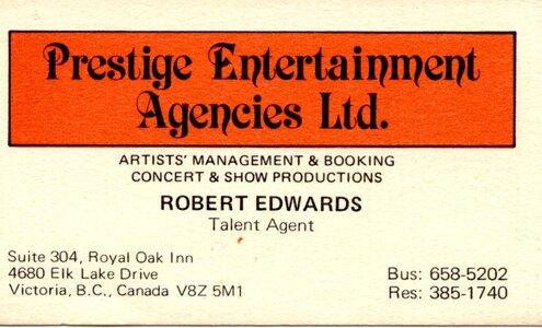 Photo -   Prestige Entertainment Agencies Ltd.  - Photo Credit:  Rob Edwards