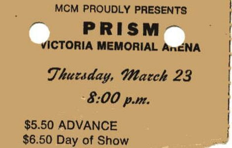 Photo- Ticket for Prism, Thursday March 23, 1978 Memorial Arena Victoria B.C.  -   Prism (Vancouver)  - Photo Credit:  Walt Gschiel