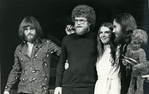 Photo- Doug Edwards, left, with Tom Hazlitt, Ann Mortifee and Robbie King on May 15, 1976.  -   Doug Edwards  - Photo Credit:  Glen E. Erikson