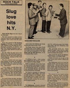 Photo- Doug and The Slugs article March 1981  -   Doug & The Slugs