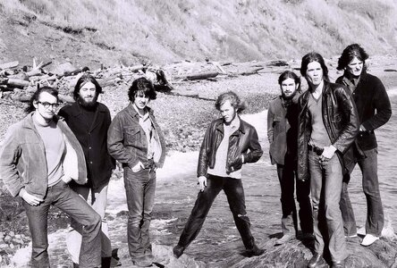 Photo- From the early 1970\'s taken on the beach at Finlayson Point in Beacon Hill Park the day of a gig at the Club Tango on View Street. L-R Harry Creech, Don Chandler, Bob Lesher, Ric Whitman, Dave Vidal, Ken Preston and Bryan Hunt.  -   Ken Preston