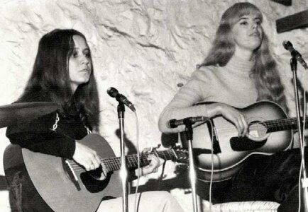 Photo- Tina and Delores on stage at Folk Nite.  -   Club A GoGo
