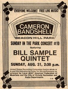 Photo- Billsamplequintetad08311980  -   Stage in the Park (Cameron Bandshell)