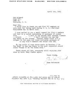 Photo- Letter from CHUBB. Club 6 Credit Bob Aylward  -   Club 6