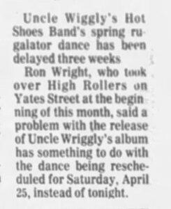 Photo- April 4, 1981 credit Janice Mason  -   Uncle Wigglys Hot Shoes Blues Band