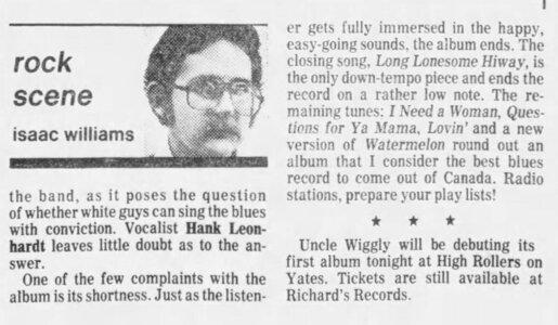 Photo- April 25, 1981 credit Janice Mason  -   Uncle Wigglys Hot Shoes Blues Band