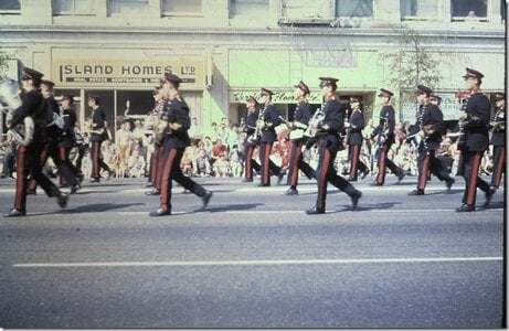 Photo- Marching South on Douglas Street just before Bay Street. Circa 1970/71  -   5th (BC) Field Regiment, RCA Band  - Photo Credit:  Jon McGrath