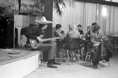 Photo- Roy Rhymer playing bass with the Iliad at Crystal Gardens 1967  -   Roy Rhymer