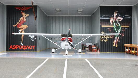 Captain Steve's Cessna 182 hangar. photo: Lotus Johnson by  Peter Allen