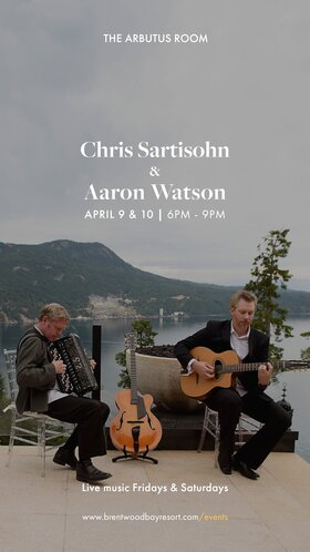 Cold Cut Combo live Hot Gypsy Jazz & Parisian Musette: Aaron Watson, Chris Sartisohn @ Brentwood Bay Resort And Spa Apr 9 2021 - Apr 21st @ Brentwood Bay Resort And Spa